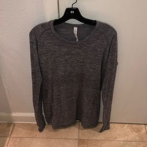 Grey workout long sleeve top